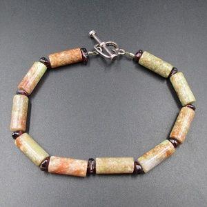 Vintage 8 Inch Cool Brown Green Stone Bracelet